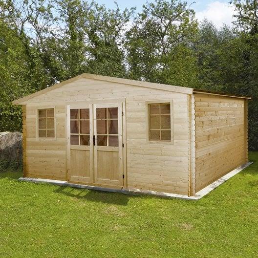 Abri de jardin en bois 17 62m2 ep 28mm mod le pully for Prix cabanon jardin