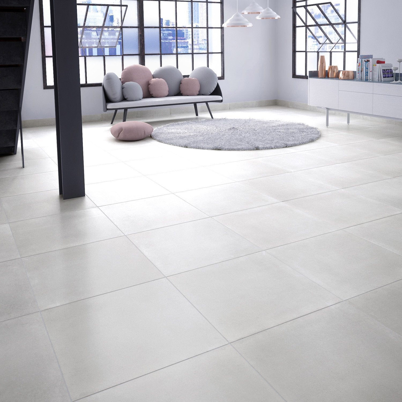 Carrelage Sol Et Mur Blanc Aspect Béton L603 X L603 Cm Leroy