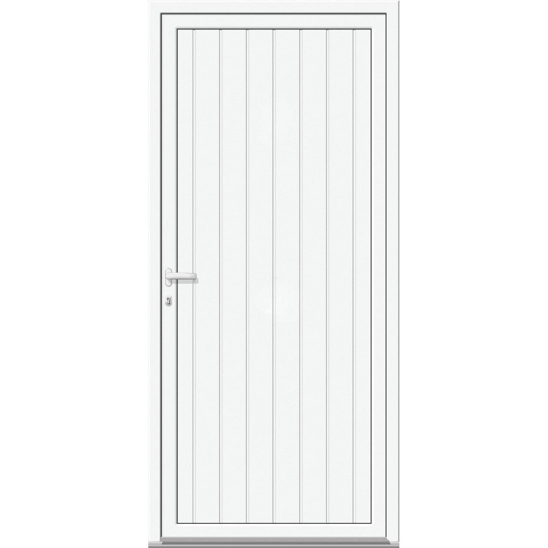 Moderne Porte de service Alu H.200 x l.90 cm pleine blanc, PG | Leroy Merlin OO-68
