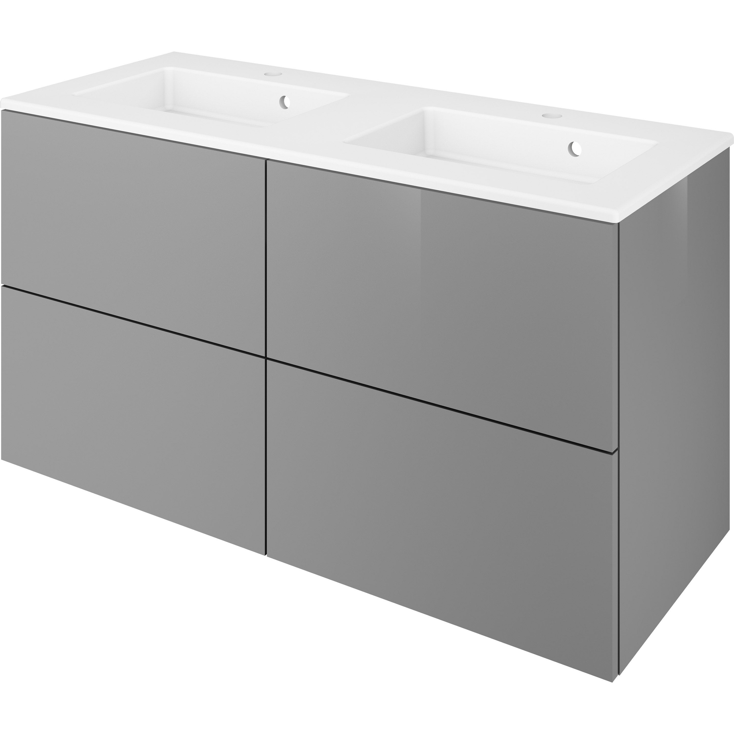 Meuble double vasque 4t x x cm gris moon Meuble double vasque 120 leroy merlin