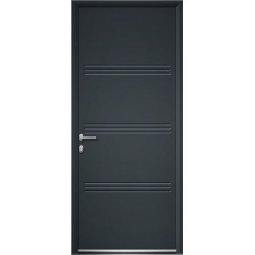 Porte d'entrée aluminium Plano ARTENS poussant droit, H.215 x l.90 cm