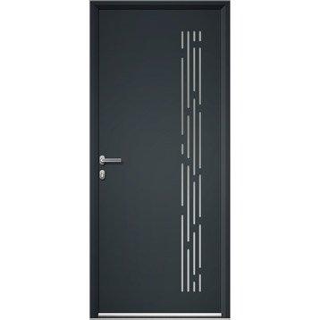 Porte d'entrée aluminium Nordfolk ARTENS poussant gauche, H.215 x l.90 cm