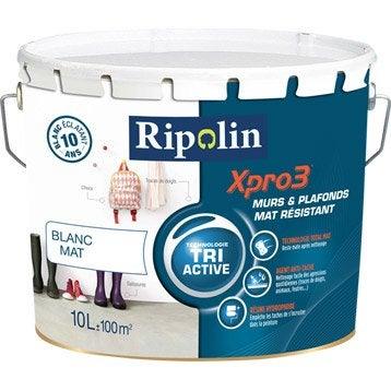 Peinture blanche mur, plafond et boiserie Xpro3 resist RIPOLIN, mat 10 l