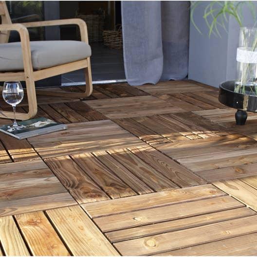 Dalle bois douglas nat rial x cm x mm leroy merlin - Dalle en bois pour terrasse ...