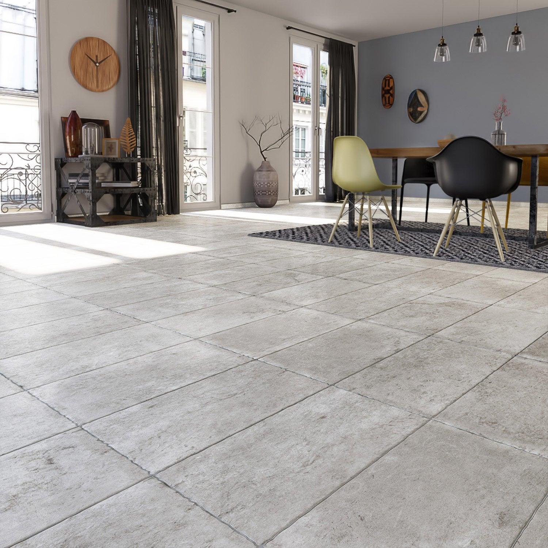 Carrelage sol et mur gris effet pierre Monastère l.30 x L.50 cm ...
