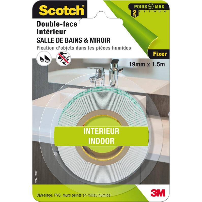 Rouleau Adhésif Double Face Salle De Bain Et Miroir Scotch L15 M X L19 Mm
