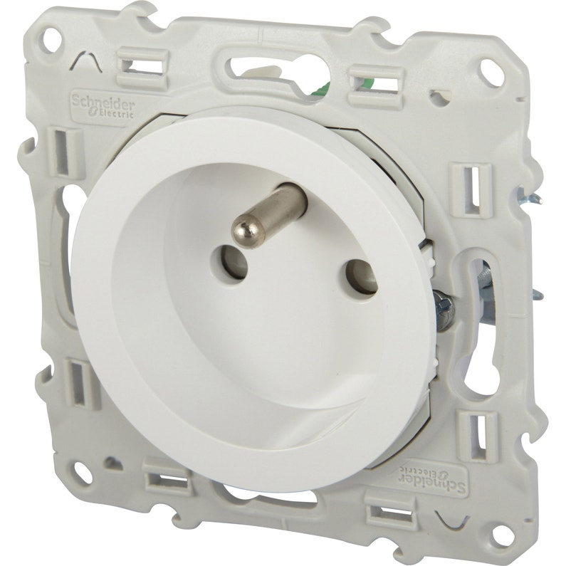 Prise Avec Terre Odace Schneider Electric Blanc