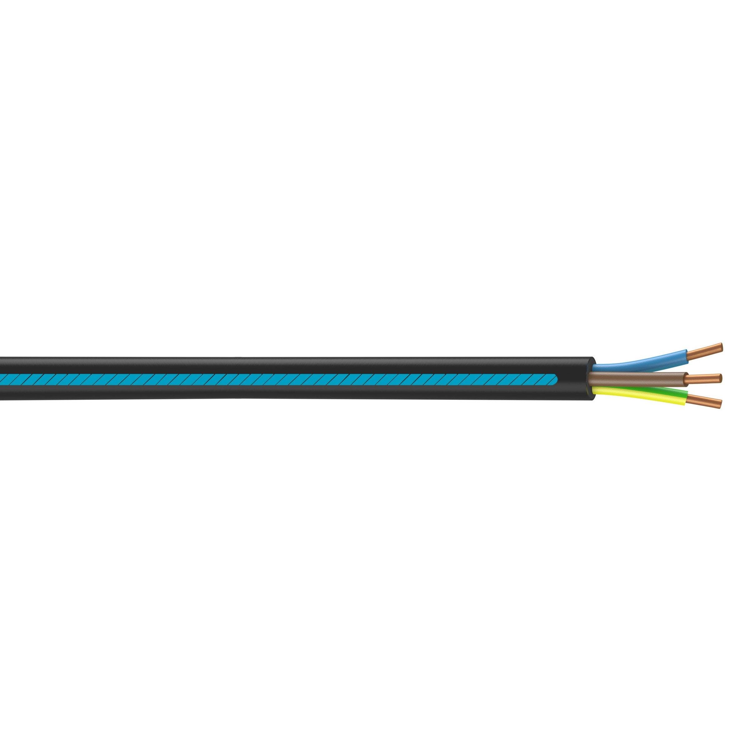 Combien De Metre De Fils Electrique Pour Une Maison câble électrique 3 g 6 mm² u1000r2v l.50 m, noir