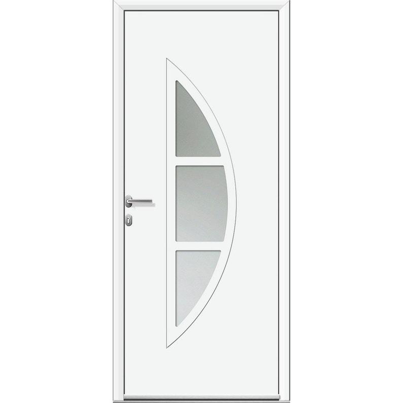Porte D Entrée Alu Omaha 2 Essentiel H 215 X L 90 Cm Vitrée Blanc Pg