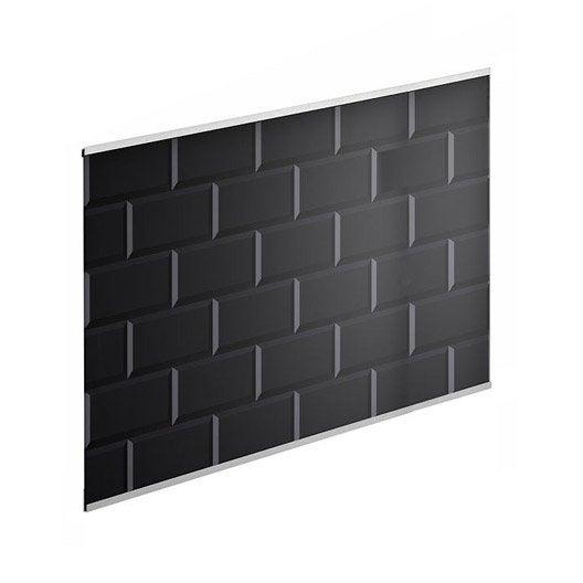 cr dence verre carrelage m tro noir cm x cm leroy merlin. Black Bedroom Furniture Sets. Home Design Ideas