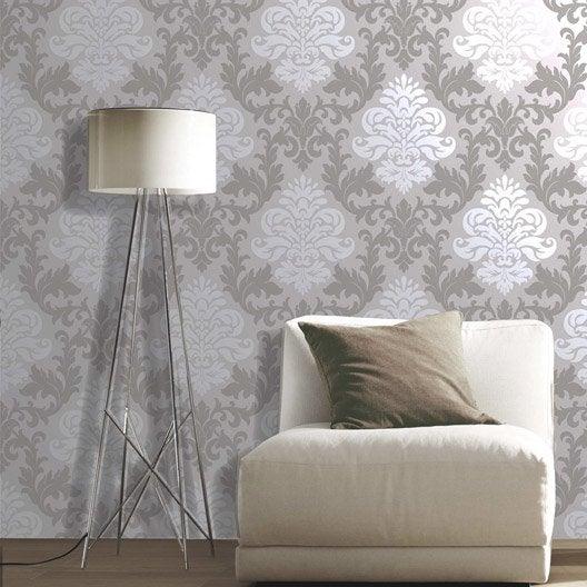 papier peint papier medaillon gris leroy merlin. Black Bedroom Furniture Sets. Home Design Ideas