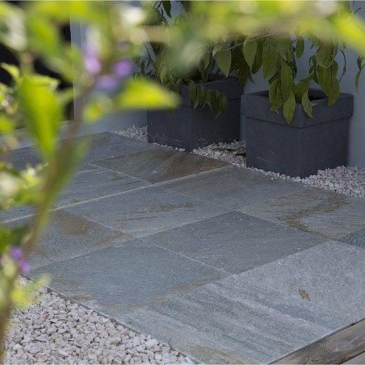 Dalle Quartzite en pierre calcaire beige, L.40 x l.40 cm x Ep. 12 mm
