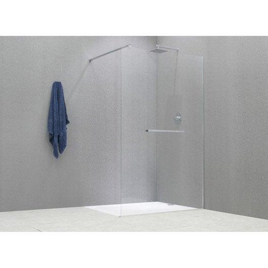 Paroi de douche l 39 italienne cube profil chrom l 78 leroy - Paroi de verre douche italienne ...