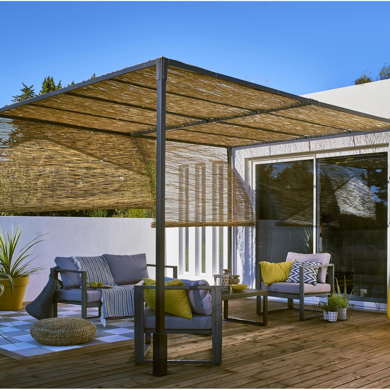 Pergola autoportante Sans couverture, acier noire, 12 m² | Leroy ...