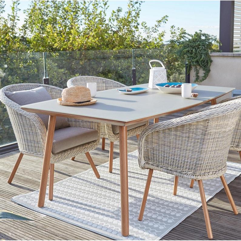 table de jardin de repas new england rectangulaire beige 6 personnes leroy merlin. Black Bedroom Furniture Sets. Home Design Ideas