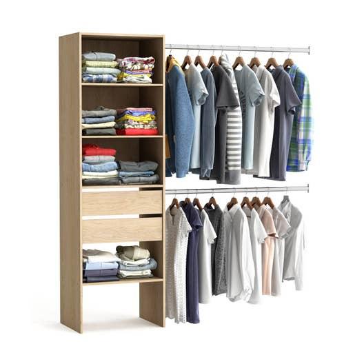 kit dressing effet ch ne naturel smart x x cm x p de la joue44 leroy merlin. Black Bedroom Furniture Sets. Home Design Ideas