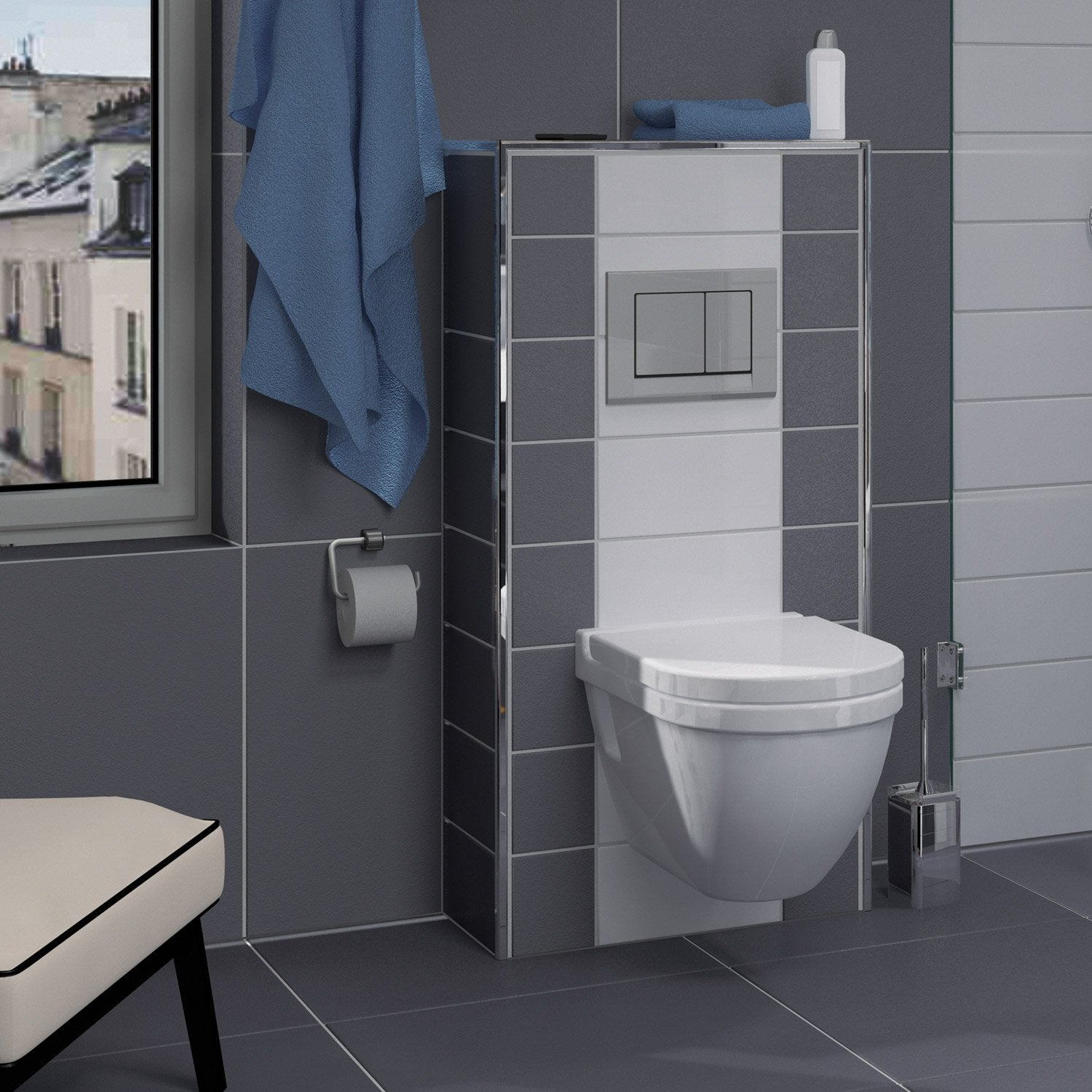 Cuvette Wc Suspendu Carre coffrage wc suspendu l.60xh.1250xp.30 cm, lux elements habillage  bati-support