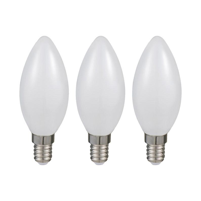 Lot De 3 Ampoules Led Opaque Bougie E14 470 Lm 40 W Blanc Neutre Lexman