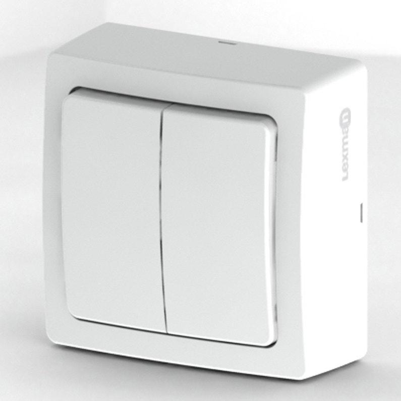 Double Interrupteur Va Et Vient Saillie Lexman Opus Blanc