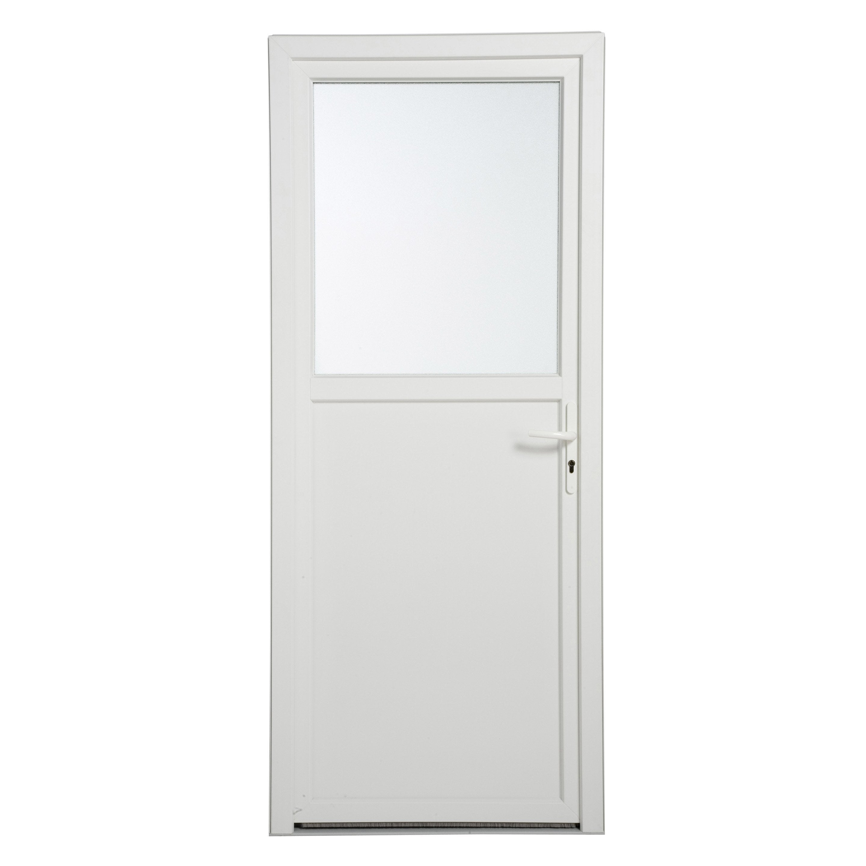 Porte De Service Pvc H 200 X L 90 Cm Vitree Blanc Pg
