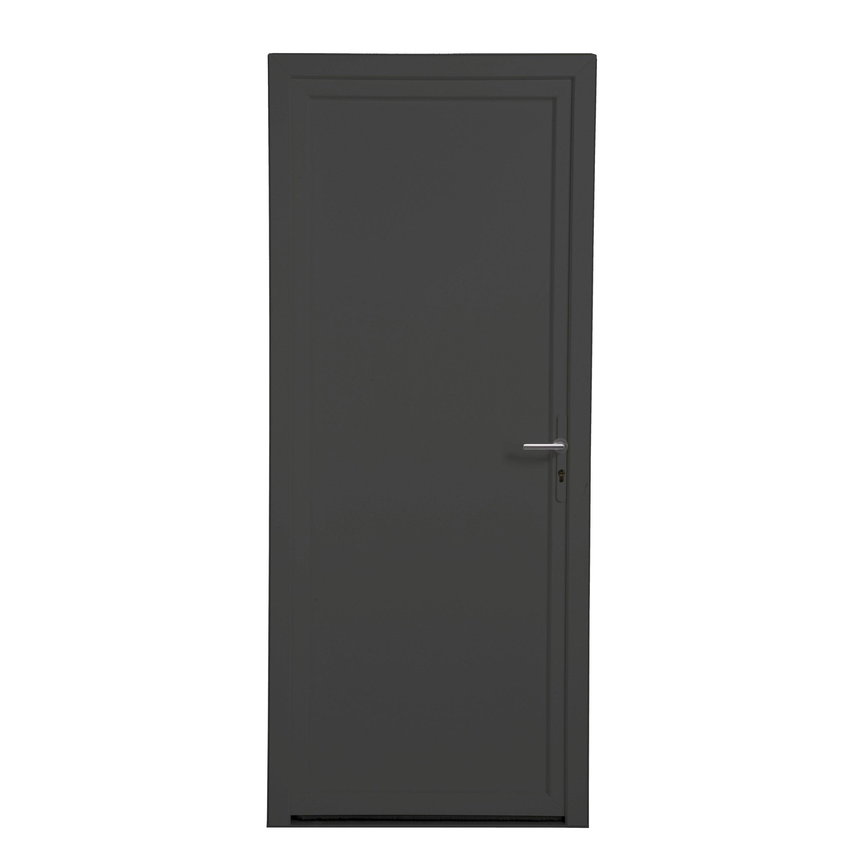 Porte De Service Pvc H 200 X L 90 Cm Pleine Gris Anthracite