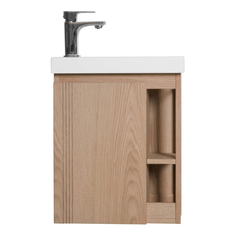 Comment Installer Un Lave Main Avec Meuble meuble lave-mains l.40 x h.48 x p.22.5 cm, chêne naturel, flynn