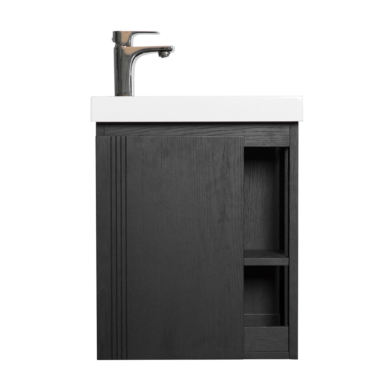 Comment Installer Un Lave Main Avec Meuble meuble lave-mains l.40 x h.48 x p.22.5 cm, chêne carbone, flynn