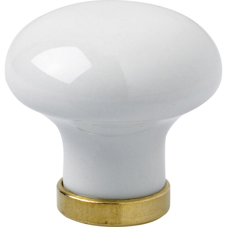 Bouton De Meuble Blanc Porcelaine H30 X L30 X P32 Mm