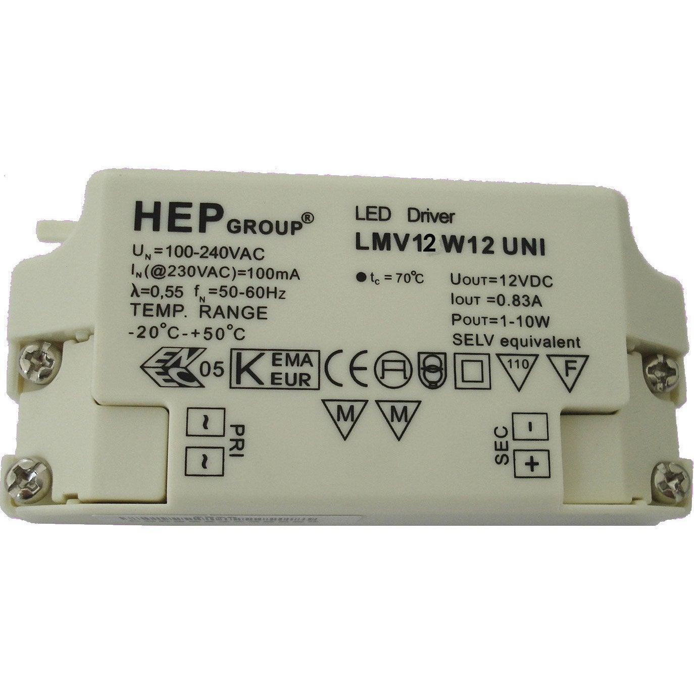 Transformateur Led 12w Fixe Blanc