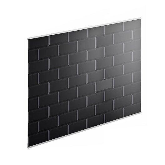 Fond de hotte verre delinia carrelage m tro noir x h for Carrelage 90 x 90