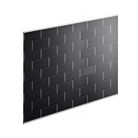 fond de hotte verre delinia carrelage m tro noir x cm ep 5 mm leroy merlin. Black Bedroom Furniture Sets. Home Design Ideas