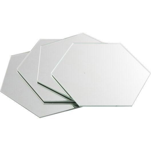lot de 4 miroirs non lumineux adh sifs hexagonaux x l. Black Bedroom Furniture Sets. Home Design Ideas