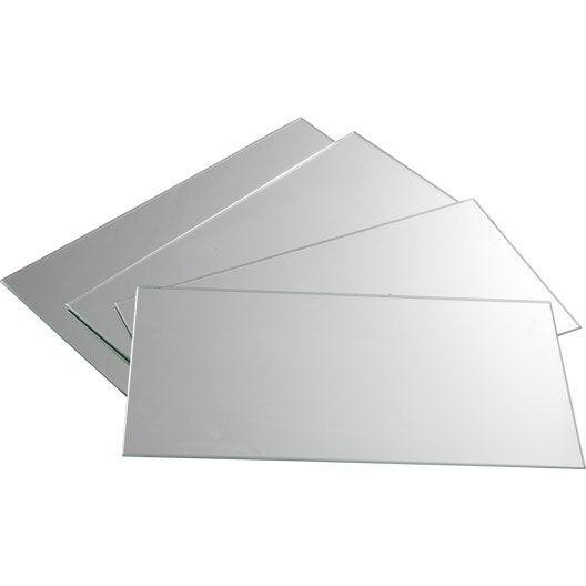 Lot de 4 miroirs non lumineux adh sifs rectangulaires for Miroir 0 coller