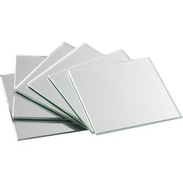 Lot de 4 miroirs non lumineux adhésifs carrés l.10 x L.10.5 cm