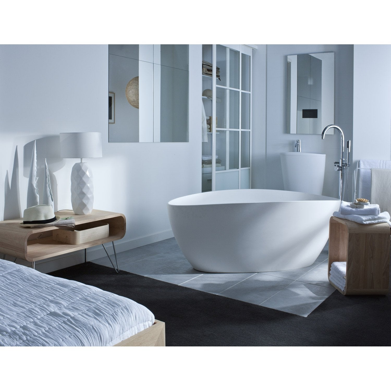 lavabo colonne en r sine et marbre blanc stori leroy merlin. Black Bedroom Furniture Sets. Home Design Ideas