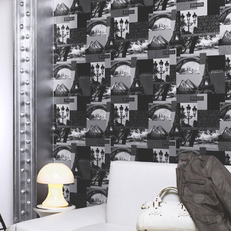 papier peint papier paris gris leroy merlin. Black Bedroom Furniture Sets. Home Design Ideas