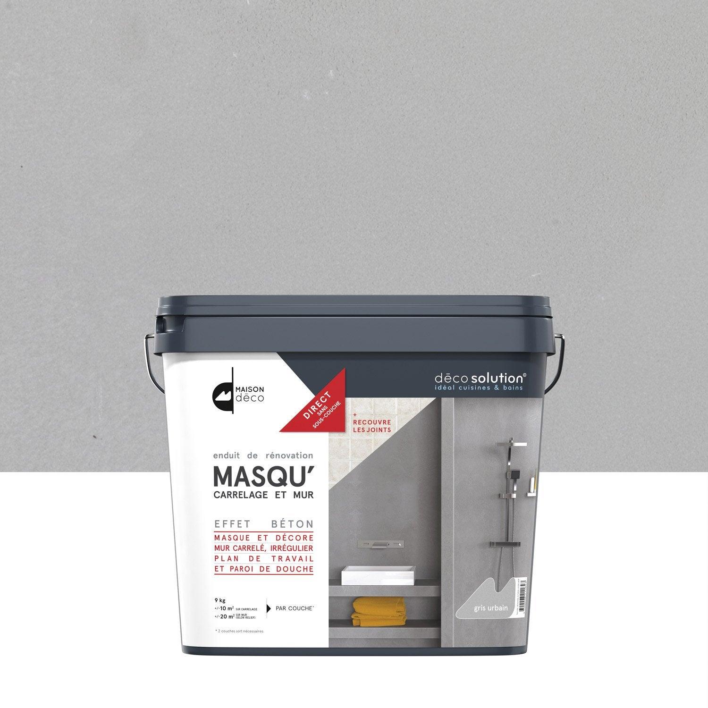 Enduit Masqucarrelage Et Mur MAISON DECO Gris Urbain Kg - Peinture sol carrelage salle de bain leroy merlin