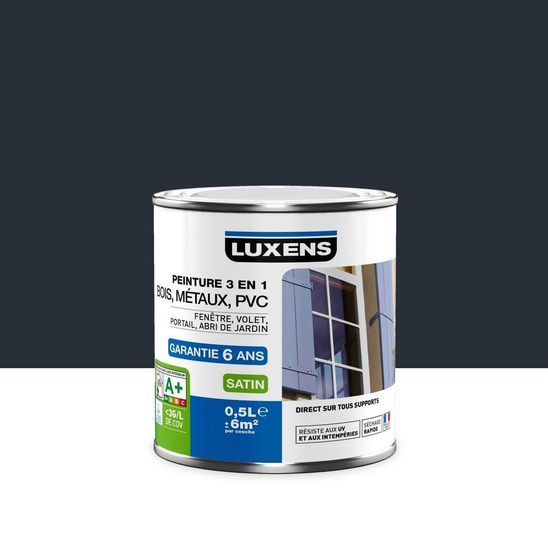 merveilleux Peinture multimatériau extérieur 3 en 1 LUXENS, gris anthracite, 0.5 l