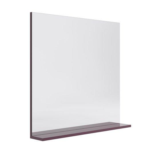 miroir avec tablette opale aubergine leroy merlin. Black Bedroom Furniture Sets. Home Design Ideas
