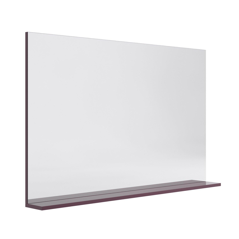 Miroir avec tablette aubergine l 120 0 cm opale leroy for Miroir tablette