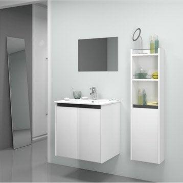 Meuble de salle de bains first blanc 61x46 cm 2 portes - Meuble d angle salle de bain leroy merlin ...
