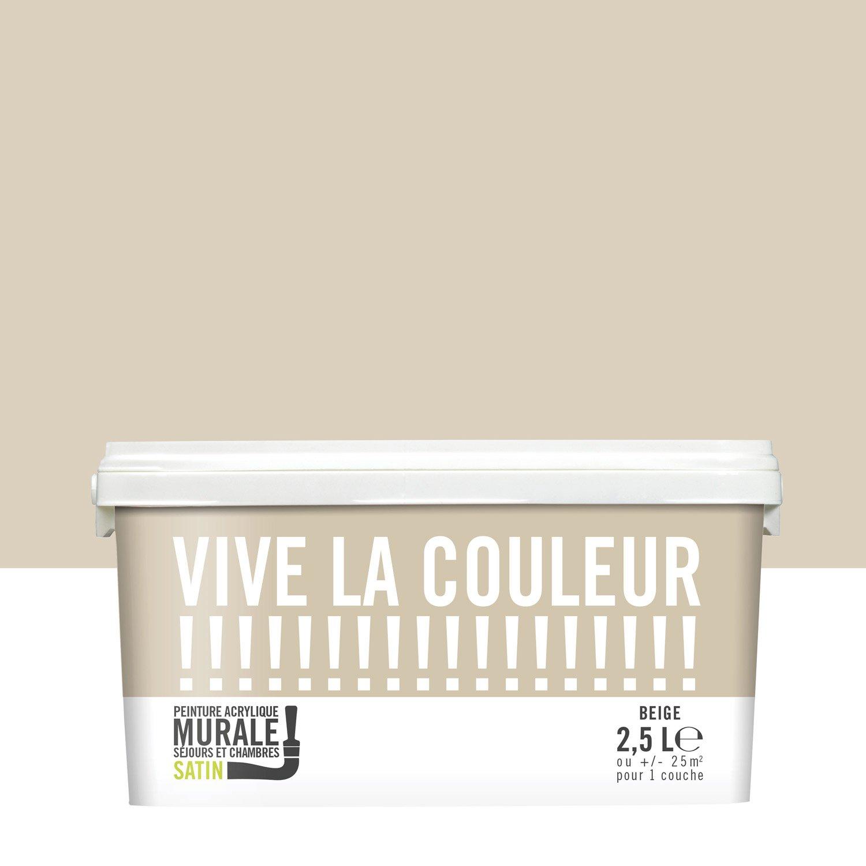 Peinture Beige Satin VIVE LA COULEUR L Leroy Merlin - Peinture acrylique pour mur exterieur