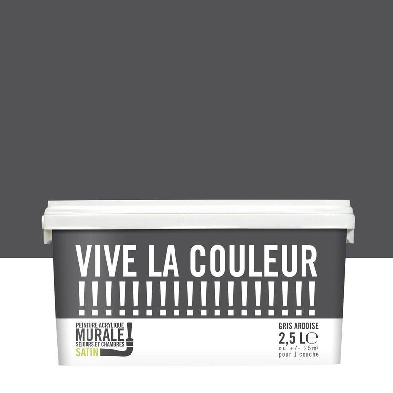 Peinture gris ardoise satin VIVE LA COULEUR! 2.5 l