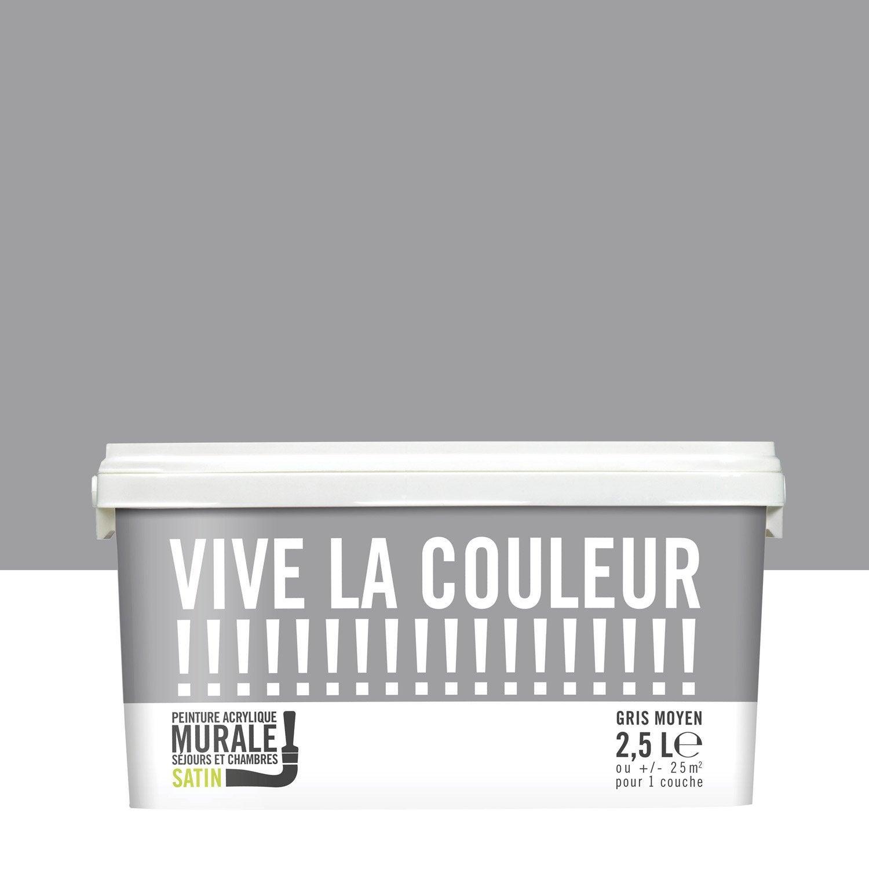 Peinture gris moyen satin VIVE LA COULEUR! 2.5 l