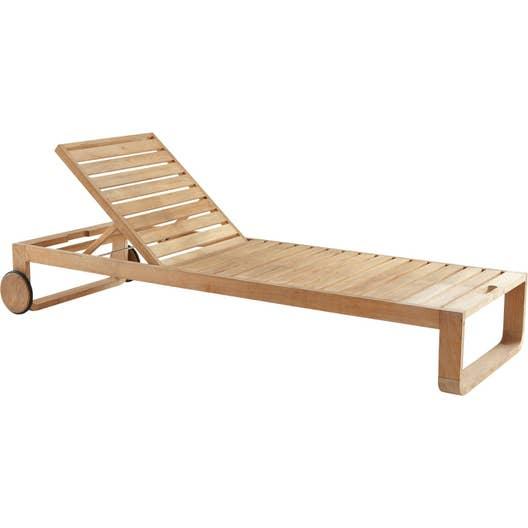 bain de soleil de jardin en bois resort naturel leroy merlin. Black Bedroom Furniture Sets. Home Design Ideas