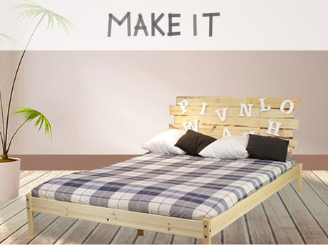 diy r aliser une t te de lit en bois leroy merlin. Black Bedroom Furniture Sets. Home Design Ideas