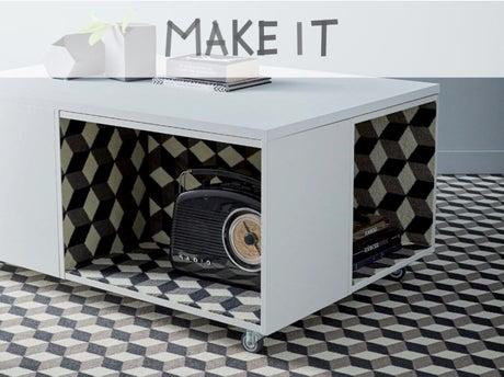 Diy fabriquer une table basse vintage en moquette leroy merlin - Fabriquer caisson de basse ...