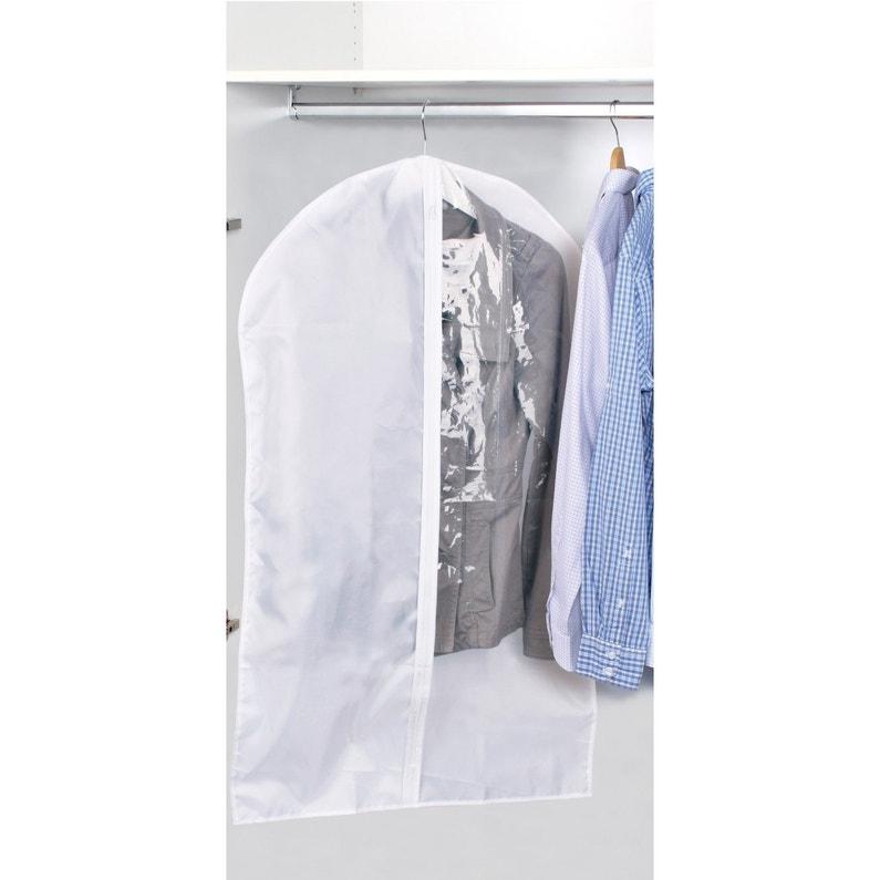 Housse A Vetements Courte Plastique Blanc H 90 X L 60 X P 0 1 Cm