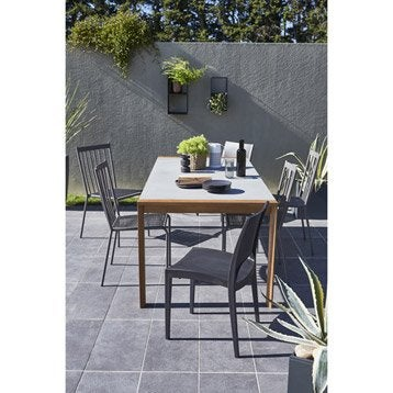 Table de jardin Berlin rectangulaire gris 6 personnes