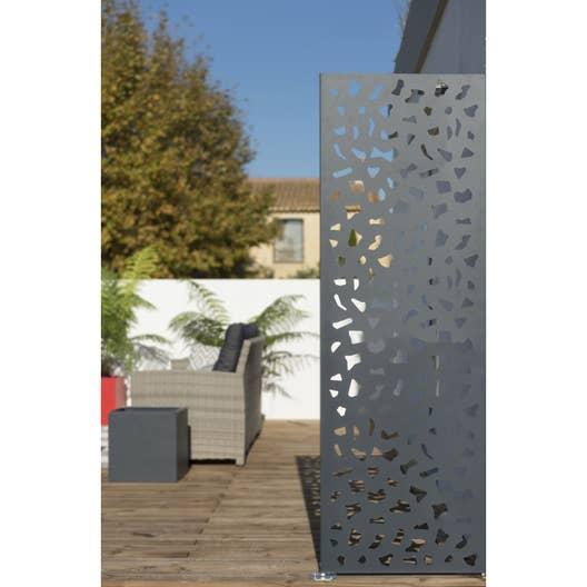 Panneau acier ajour decor x cm gris leroy merlin - Panneau ardoise jardin ...
